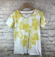Women's J. Crew XS Collector Tee White Yellow Gold Floral Cotton Polyester Shirt