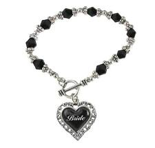 Bride Heart Silver Black Glass Bead Bracelet Jewelry Wedding Bridal Party Gift