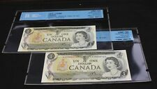 2x 1973 $1 Dollar Bank of Canada EAX Steel from Same sheet  BC-46bA-i UNC 64