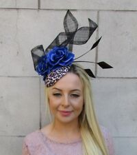 92061872 Leopard Print Black Royal Blue Flower Feather Hat Fascinator Rockabilly 50s  5962