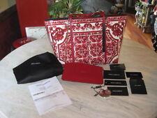 NWT Dolce & Gabbana Majolica Red & White All Leather Tote Handbag Shopper