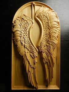 Wood carved picture wall decoration plaque. Fallen angel wings. Perfect gift