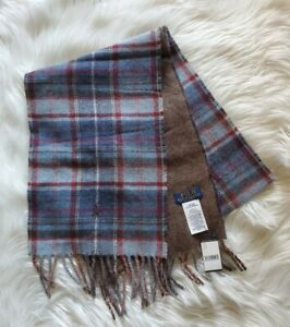 Polo Ralph Lauren Mens Reversible OS Red Blue Brown Wool Blend Driver Scarf NWT