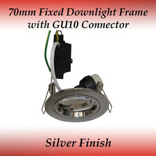 70mm Silver Fixed GU10 Recessed Downlight Frame Compatible to LED Globes