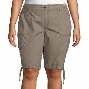 St. John's Bay Women's Plus Mid Rise Bermuda Shorts Size 18W Taupe Shad Cargo
