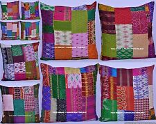 "24"" Wholesale Lot 10 PCs Silk Kantha Patchwork Square Pillow Sham Cushion Cover"