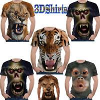 Hot Stylish 3D Tiger Lion Bear Print T-Shirt Men's Casual Short Sleeve Tops Tee