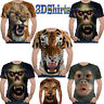 Hot Stylish 3D Tiger Lion Bear Print T-Shirt Men's Casual Short Sleeve Tops Tee