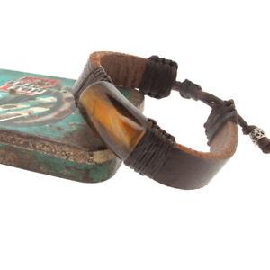 Leather with Brown Tigers Eye Gem Stone Wristband Bracelet.Adjustable 21- 26 cm