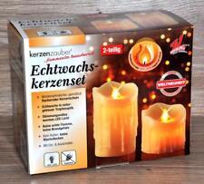 2 pièces LED cire véritable Bougies Bougies de pilier Décoration de Noël NEUF