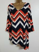 NEW Plus Size 16-28 Colour Block Flute Sleeve Tunic Top Blouse Black WhiteOrange