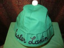 """Vintage Green Lester Lanin Hat with Pom-Pom. Large. 24"""" Head Circumference."""
