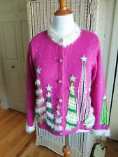 RARE DESIGN OPTIONS BY PHILIP AND JANE GORDON SEQUIN CHRISTMAS TREE SWEATER SZ M