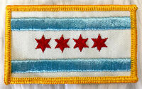 Vintage 70s CHICAGO ILLINOIS City Flag Embroidered Patch Sew On For Jacket / Hat