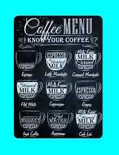 retro coffee menu metal sign