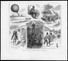 1880 antica stampa-Hampshire Aldershot Esercito Marciare COLONNA Air Balloon (202)
