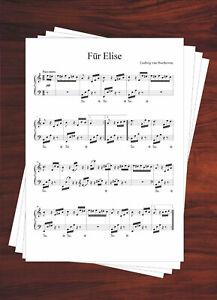 Klaviernoten Für Elise (Ludwig van Beethoven) für Anfänger und Fortgeschrittene