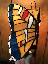 """Vtg Butterfly Shaped Glass Lamp Shade Orange Blue Red White Small 9""""x6"""" 7/8""""hole"""