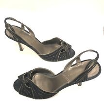 e90786d0ebd0 Tahari Black Suede with Gold Metallic Accents Peep Toe Slingback Heels Size  8 M