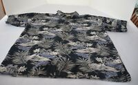 Palm Island Hawaiian Shirt Men sz XL blue, gray, white short sleeve cotton rayon