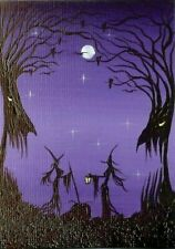 ACEO Original Painting Halloween Spooky Whimsical Trees Stars Witches Art HYMES