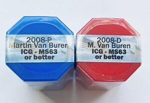 2008 P&D Set of Martin Van Buren Presidential Dollar Sealed Rolls of 20 ICG MS63