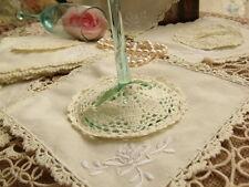 6 Set-12pcs(Lace Doily+Goblet Cover) -Vintage Crochet HAND Embroidered Rose Ecru