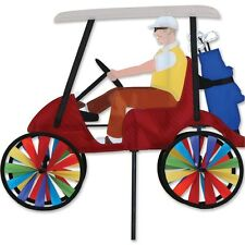 """Guy on a Red Golf Cart 17"""" Staked Wind Spinner With Pole & Mount..19.. PR 25647"""