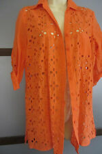 August Silk Shirt Top Blouse Button Down Coral Orange Eyelet Roll Tab Sleeve S