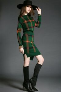 Plaid knitted knit red blue green skirt jacket sweater top suit set outfit 2 pc