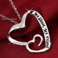 Engraved Sisters Heart Necklace Silver Xmas Gifts For Her Friends Daughter Women