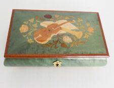 Pretty Italian Burlwood Inlaid Wood Musical Floral Music Box - [watch video]
