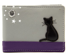 Cat Card Holder Wallet by MALA Leather Grey RFID Ladies Credit Photo ID Mini
