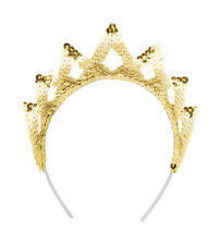 TIARA SEQUIN GOLD 7 POINT FANCY DRESS PRINCESS OUTFIT ACCESSORY