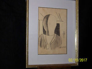 Carlo Carra' Major Listed Artist Original Hand Done Metaphysical Drawing Signed