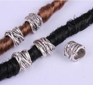 30 PCs Tibetan Silver Metal  DIY Bracelet necklace Dreadlocks Beads hole 8mm
