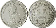 SUISSE  ,  2  FRANCS    ARGENT  1894 B   BERNE