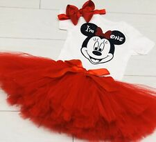Luxury Girls Cake Smash Outfit 1st Birthday Vest Set Tutu Skirt Minnie Mouse Red