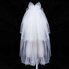 ivory off white wedding veil with comb 2 tier bow crystals UK