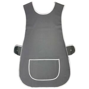 LADIES TABARD APRON KITCHEN OVERALL CATERING TABBARD CLEANING POCKET PLUS GREY