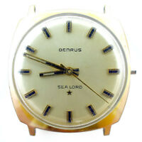 BENRUS SEA LORD GOLD DIAL 14K GOLD ELECTROPLATED WATCH HEAD FOR PARTS OR REPAIRS