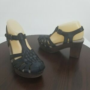 Earth Leather Sandals 7M Block Heel Black Ankle Buckle Strap