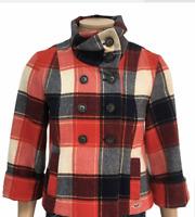 HOLLISTER Women's Red Tartan Wool Blend Swing Jacket Short Pea Coat Size L