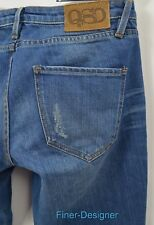 QSD QUIKSILVER straight JEANS Med wash 6.5 leg JEAN distressed JR 5 27 x 33  NEW