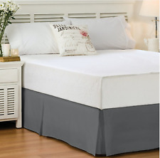 Lux Decor Collection Bed Skirt (Queen, Grey) - Hotel Quality
