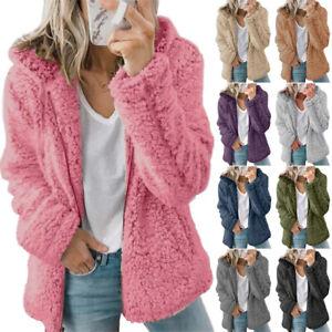 Women Fluffy Teddy Bear Hooded Overcoat Faux Fur Fleece Jacket Winter Outwear