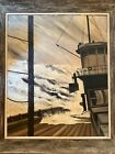 Nautical oil painting, original, signed, framed in reclaimed wood