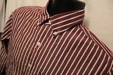 American Eagle Shirt Men's Sz S Burgundy Stripe 100% Cotton Long Sleeve