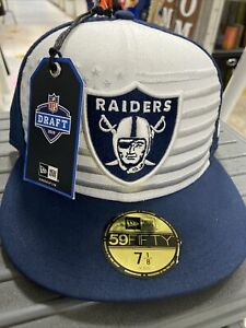 Raiders! Official 2019 Draft On Stage New Era NAVY 59FIFTY Fitted Cap Sz 7 1/8