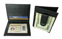 Black Leather Men's Money Clip Credit Card ID Holder Bifold Wallet